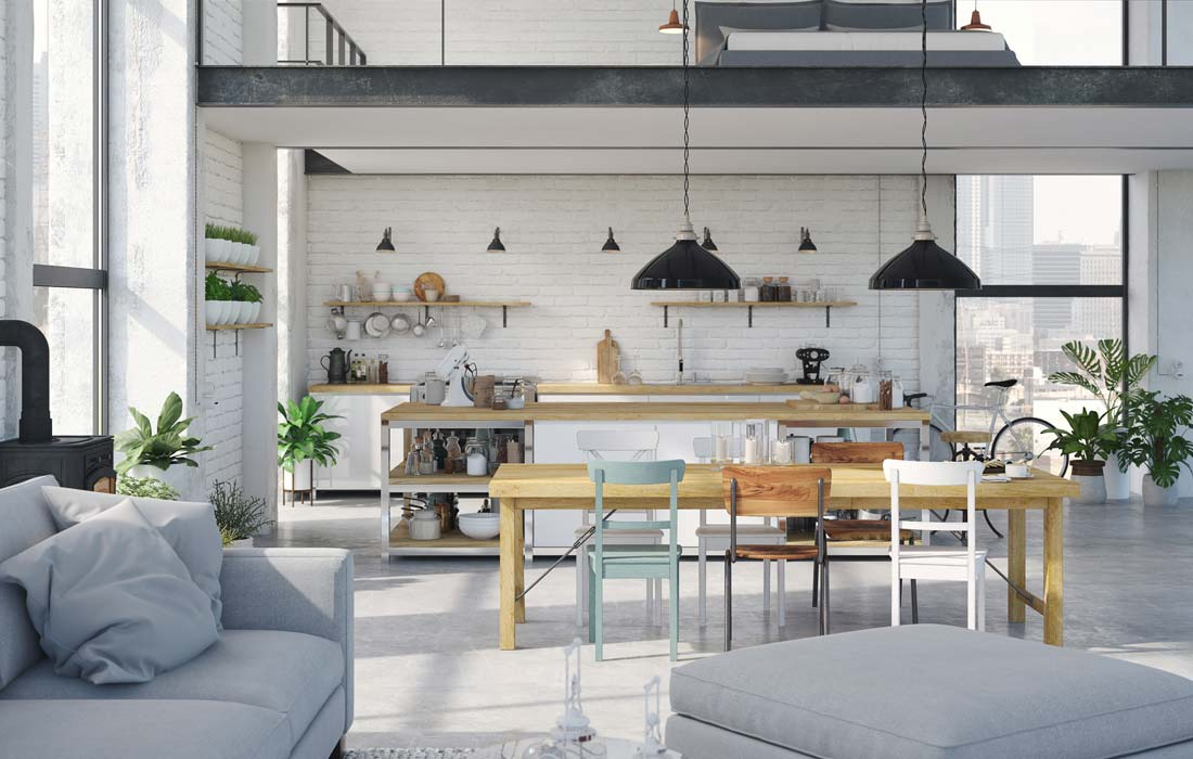 A modern open kitchen layout at The Vitagraph Apartments in Brooklyn