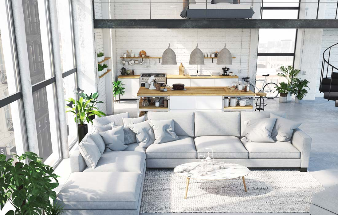 Modern open living room connected to the kitchen at The Vitagraph Apartments in Brooklyn, NY
