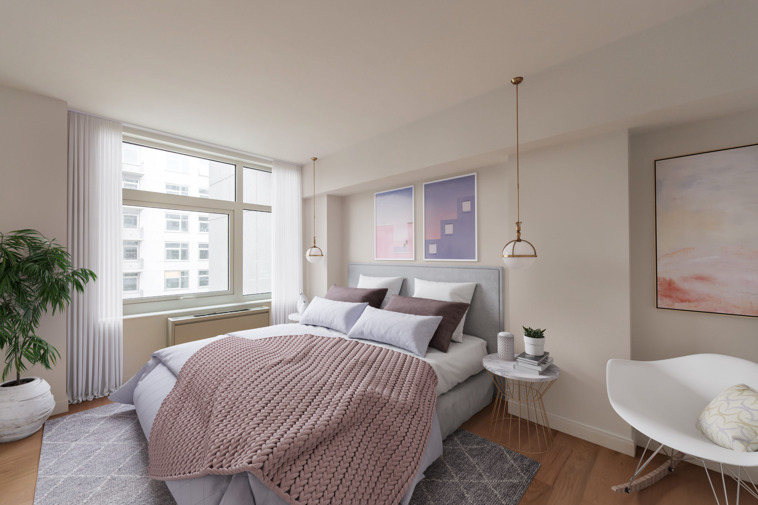 A gorgeous bedroom with a view at the Vitagraph Brooklyn