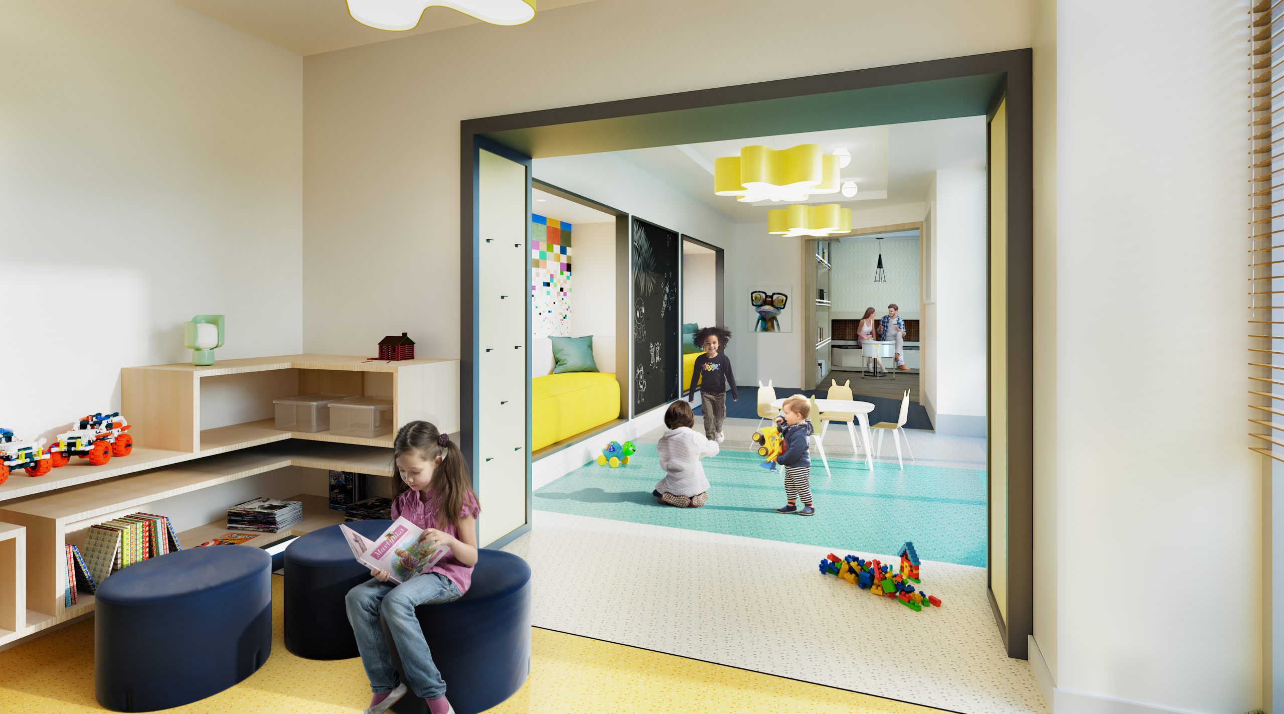 Children's learning and play area at the Vitagraph in Brooklyn, NY