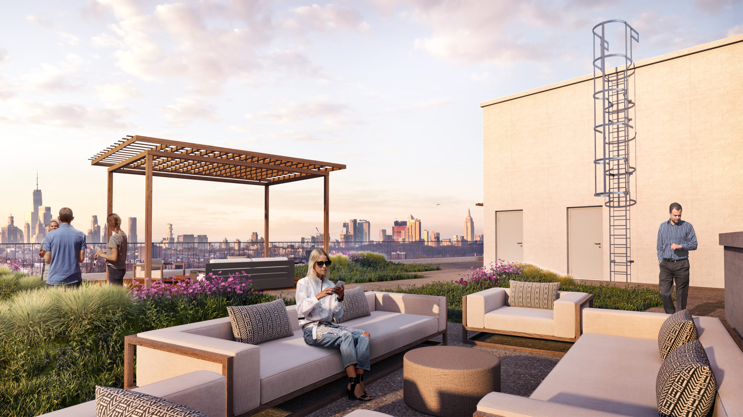Rooftop patio with a lattice awning overlooking the city at the Vitagraph Brooklyn