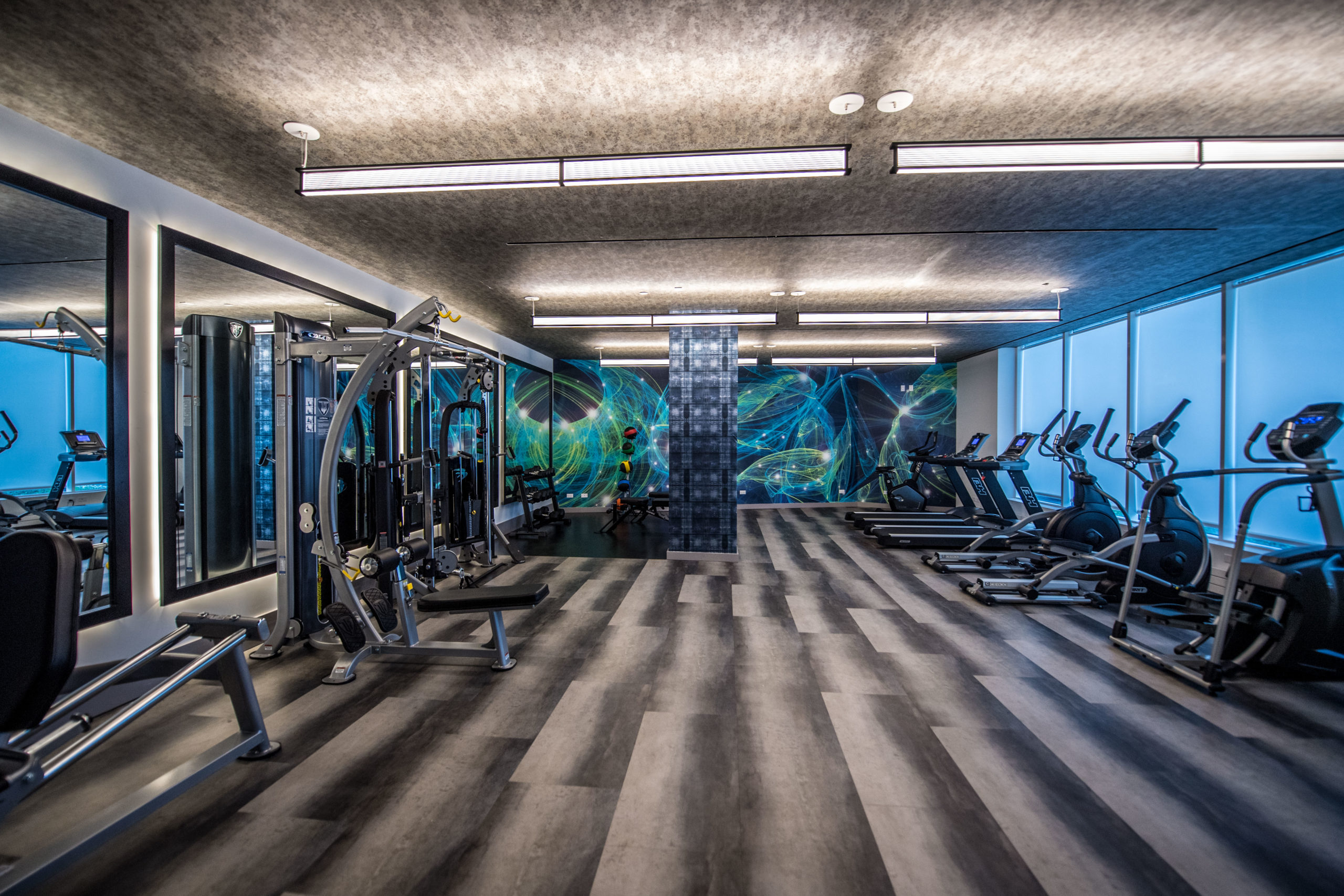 Fitness center with modern equipment at the Vitagraph in Brooklyn